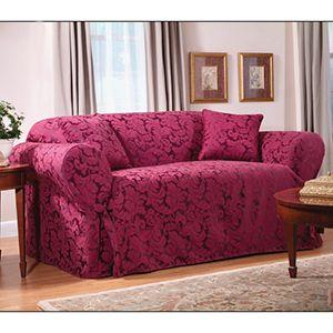 Burgundy Scroll Sofa Slipcover