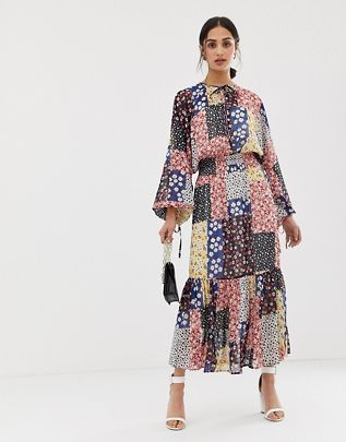 ASOS DESIGN maxi dress with shirred waist in mixed ditsy floral print