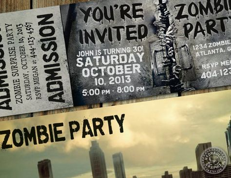The Walking Dead Party theme Invitation Ticket for birthday, halloween, costume, haunted house and anything zombie party