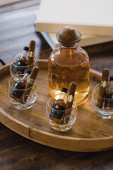 Wedding Gifts Bourbon and cigars for the groom and groomsmen while getting ready for the wedding ceremony - Learn how to rent a tuxedo online with Generation Tux for your wedding. Ideal for the Groom and Groomsmen, Wedding Favors And Gifts, Wedding Gifts For Groomsmen, Wedding Party Gift Ideas, Groomsmen Gifts Unique, Gift Wedding, Gift Ideas For Groomsmen, Wedding Suits, Bar Wedding Ideas, Weeding Gift Ideas