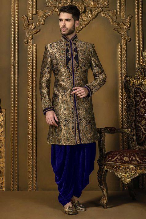 Antique #gold multicoloured khinkwab #jodhpuri bandh gala #sherwani with #velvet dhoti pants-IW325
