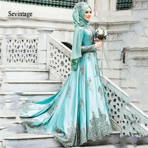 Sevintage Moroccan Kaftan Long Sleeves Prom Dresses with Scarft Muslim Dubai Lace Appliques Beaded E