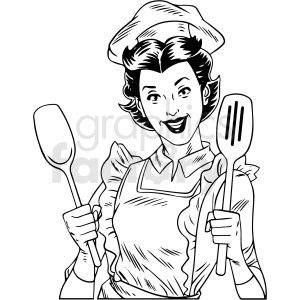 Black White Vintage Female Chef Cooking Dinner Vector Clipart
