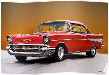 1957 Chevrolet Bel Air Two Door Hardtop I Poster Chevrolet Bel
