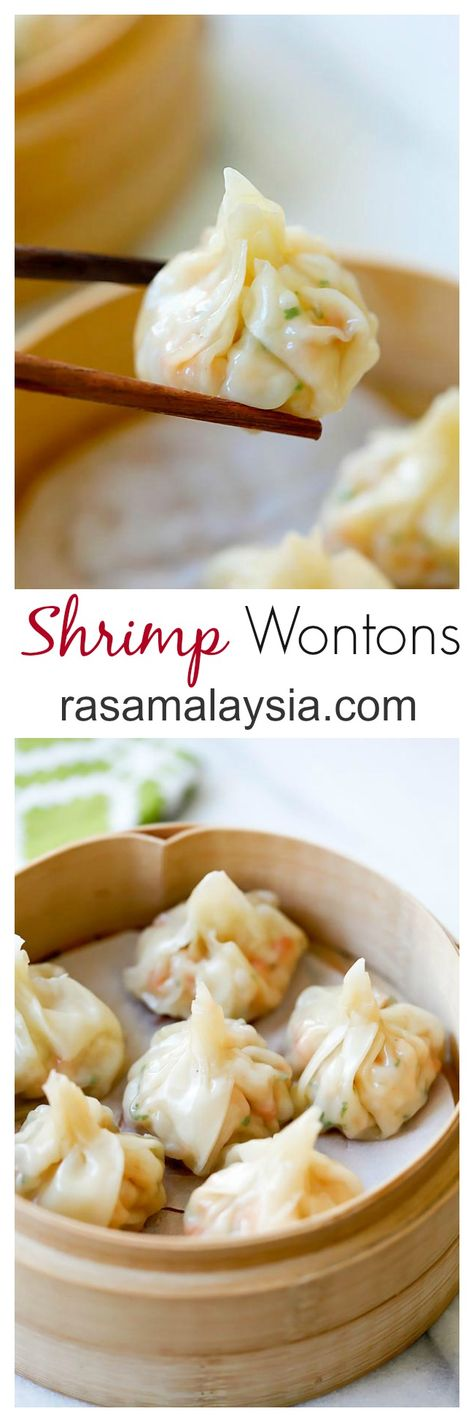 Shrimp wontons – easy peasy shrimp wontons recipe with fresh shrimp, wrapped with wonton skin and boil/steam and serve with ginger vinegar sauce | rasamalaysia.com
