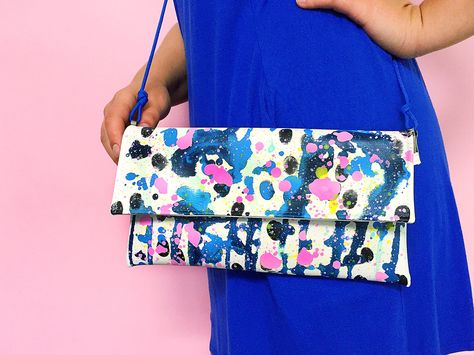 Painted clutch, arty bag, colorful purse, hand painted vegan clutch, blue and pink clutch, one of a kind bag, statement clutch, artsy clutch by ColorPhobe on Etsy