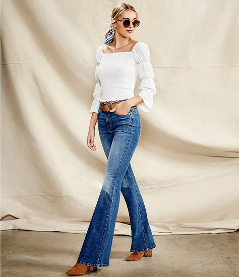 Ella Moss Womens High Rise Flare Jean