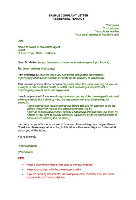 Sample Complaint Letter Template -    resumesdesign sample - Complaint Letters Template