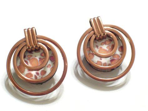 Matisse Earrings Rare Matisse Enamel Copper Saturn by TheCopperCat