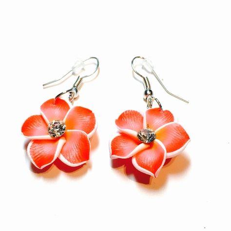 Hawaiian Plumeria earrings coral Hawaiian Plumeria earrings coral color lightweight summer earrings Jewelry Earrings