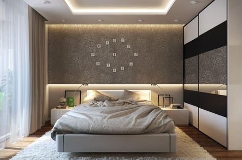 Bedroom, Modern Bedroom Decor White Curtains Large Modern Wardrobes Large  Clock On The Brown Wall Comfy Bed Between Floor Lamp Wooden Flooring Patt