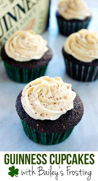 Guinness Cupcakes with Bailey's Frosting Recipe - Desserts To Make For St. Patrick's Day - Photos