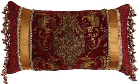 Austin Horn Classics Scarlet Pieced Pillow with Onion Fringe at Sides 12a3b5d603ba0