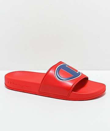 3, White White Champion Boys Kids Youth Ipo Big C Logo Slide Sandal
