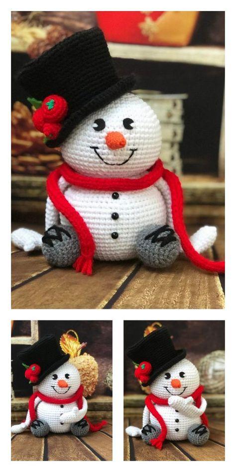 Crochet Santa, Crochet Snowman, Christmas Crochet Patterns, Crochet Ornaments, Crochet Animal Patterns, Holiday Crochet, Christmas Knitting, Crochet Patterns Amigurumi, Crochet Crafts