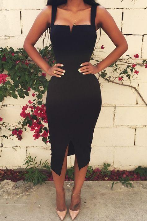 Solid Color Slit Bodycon Dress BLACK: Bodycon Dresses | ZAFUL