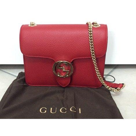 en soldes a0242 3a09c Sac en bandoulière en cuir GUCCI Rouge, bordeaux   Gucci ...