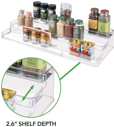 mDesign Juego de 2 Estanter/ía para botes de especias pr/áctico accesorio de cocina para organizar especias Especiero con 3 niveles Color: transparente//met/álico