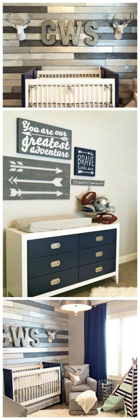 Metallic Wood Wall Nursery - love the rustic, yet modern decor in this baby boy room!