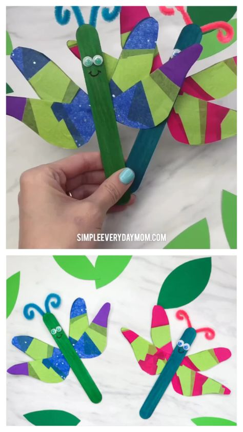 Insect Craft For Kids   Kindergarten and elementary students will love making these cute and easy popsicle stick dragonflies. They're a fun art project for spring or when learning about bugs and nature!   #insectcrafts #bugcrafts #dragonflycrafts #kidscrafts #craftsforkids #kidsactivities #kidsactivity #elementary #elementaryart #ece #teacher #teachingkindergarten #kindergarten #kidsandparenting #boredombusters #simpleeverydaymom #springcrafts #springcraftsforkids