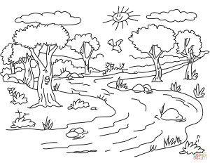 Landscape Coloring Pages River Landscape Coloring Page Free