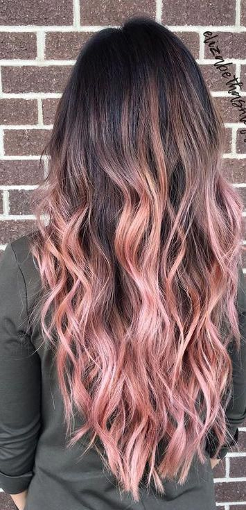 Refined Pink Balayage Blackhair Brown Ombre Hair Ombre Hair Color Hair Color