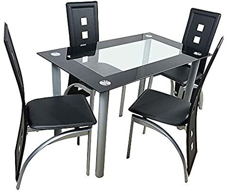 Amazon Com Simply Me 5 Pieces Dining Table Set Modern Tempered