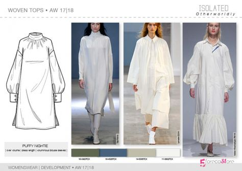 - Development - WOVEN TOPS Womenswear Woven tops flat drawings, vector technical sketches for Fall winter Trend forecasting by