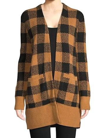 Madewell Womens Gingham Open Front Cardigan True Black
