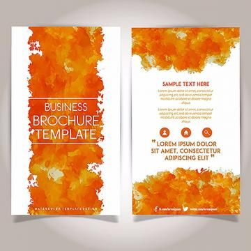 Hand Drawn Watercolor Brochure Template Design