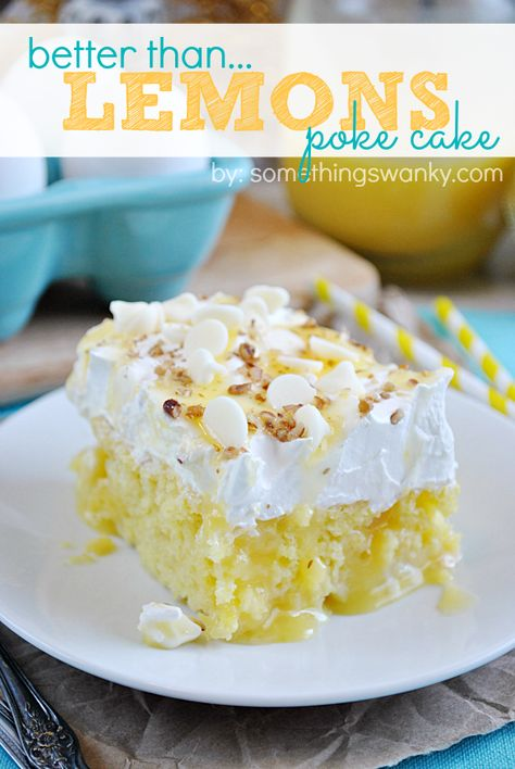 Easy Lemon Poke Cake Recipe - Something Swanky