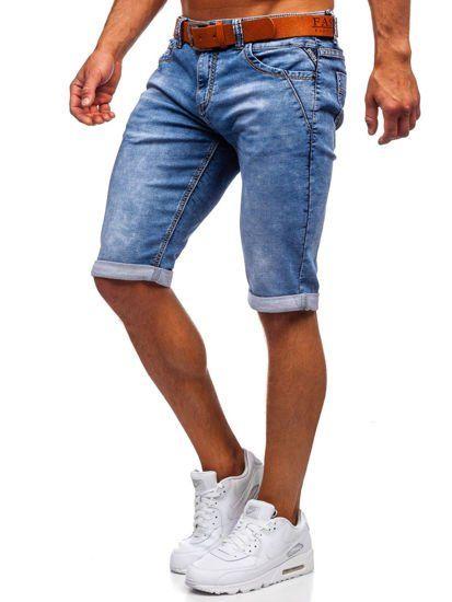 Granatowe Jeansowe Krotkie Spodenki Meskie Z Paskiem Denley Kr1211 Mens Denim Short Mens Denim Fashion