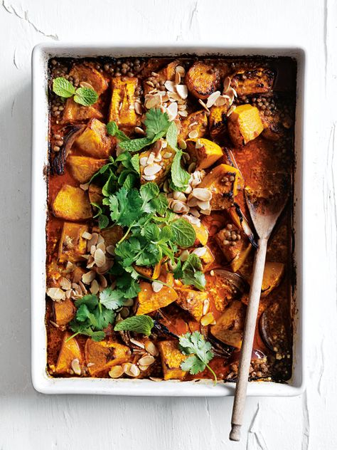 tray-roasted pumpkin and lentil korma curry