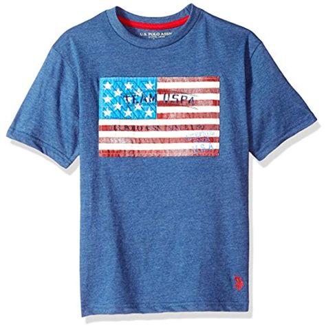 U.S. Polo Assn. Boys Toddler Short Sleeve Fancy Crew Neck T-Shirt Team USA Flag Rinse Blue Heather 2T #Boys #Tops T-Shirts-Shirts #T-Shirts