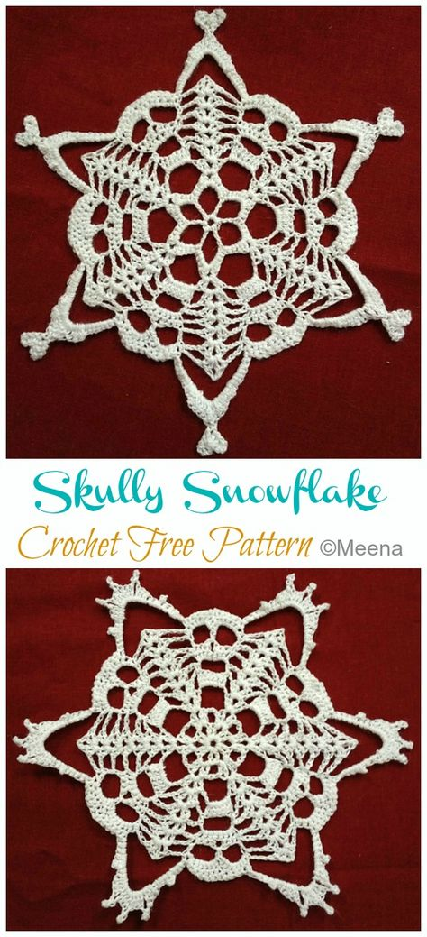 Free Crochet Snowflake Patterns, Tatting Patterns Free, Free Crochet Doily Patterns, Halloween Crochet Patterns, Crochet Snowflakes, Dishcloth Knitting Patterns, Crochet Ornaments, Knit Dishcloth, Snowflake Ornaments