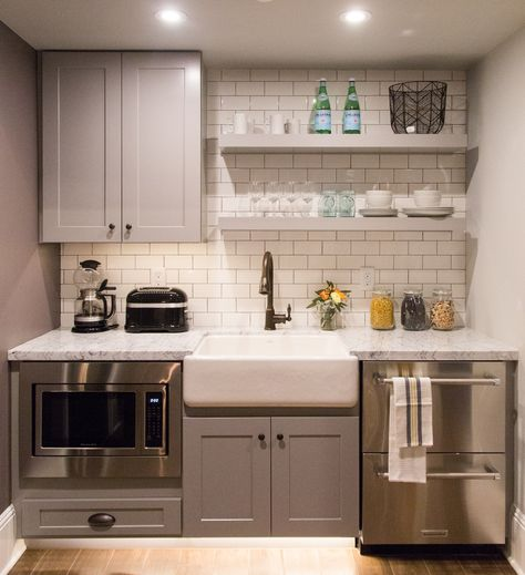 Home Remodeling Small Kitchen in suite, farmhouse sink, floating shelves Small Kitchenette, Basement Kitchenette, Kitchenette Ideas, Mini Kitchen, Little Kitchen, Interior Design Kitchen, Kitchen Decor, Kitchen Furniture, Furniture Design
