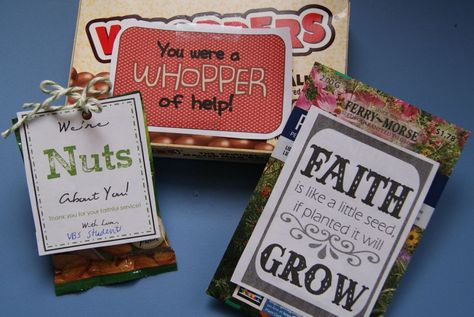 VBS, Sunday School, or classroom teacher thank you ideas. Links to printables. Inexpensive!