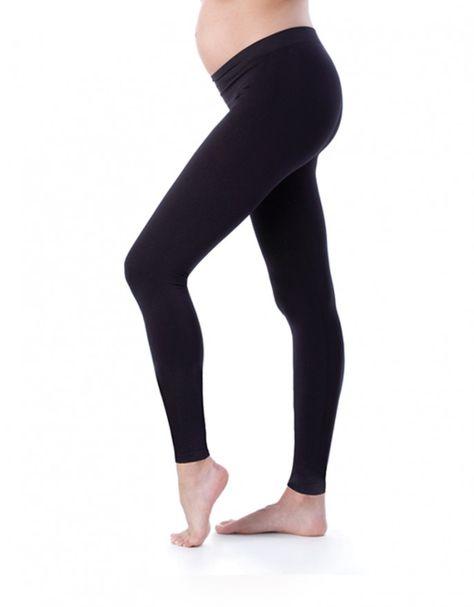 524e7d643b940 Comfortable Black Bamboo Active Under-Bump Maternity Leggings