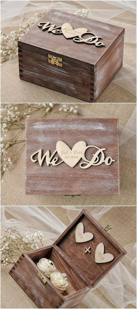 Wedding Ring Box Holder Pillow Bearer With Shabby Chic Rose Rustic Barn Wooden Burlap And Lace Mr Mrs Weddings