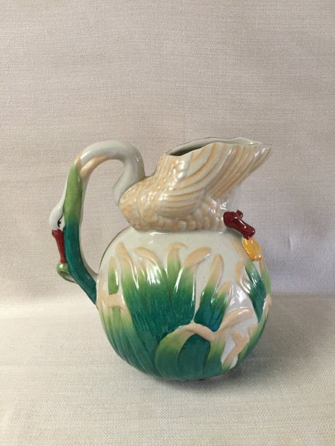 Majolica Pottery Swan  Water Pitcher Hand by TimeGoneByVintage