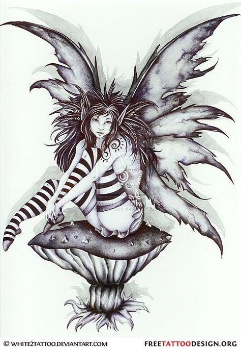Mushroom And Gothic Fairy Tattoo Design Small Fairy Tattoos, Tattoo Fairy, Fairy Tattoo Designs, Fairies Tattoo, Gothic Fairy Tattoo, Small Tattoo, Elfen Fantasy, Fantasy Art, Amy Brown Fairies