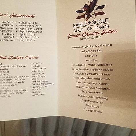 Eagle Scout Court of Honor Program Cover: Flag Law & Oath with | Etsy