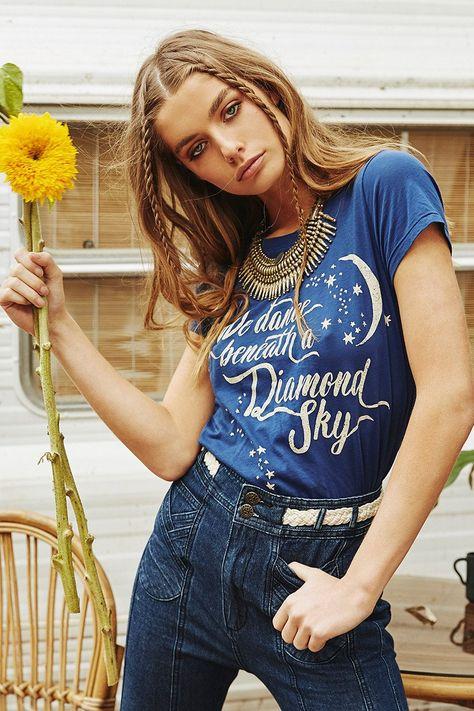 Annalise Mclachlan wears Spell Designs Diamond Sky Tee