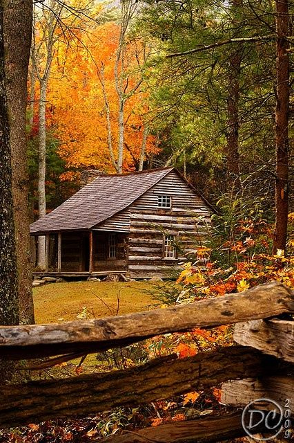 Cabin in Great Smoky Mountains.my aunt (mom's sister) lives in the Great Smoky Mountains AND has a log cabin just like this one. Great Smoky Mountains, Smokey Mountain, Smoky Mtns, Green Mountain, Mountain Style, Ideas De Cabina, Cabin In The Woods, Cabins And Cottages, Log Cabins