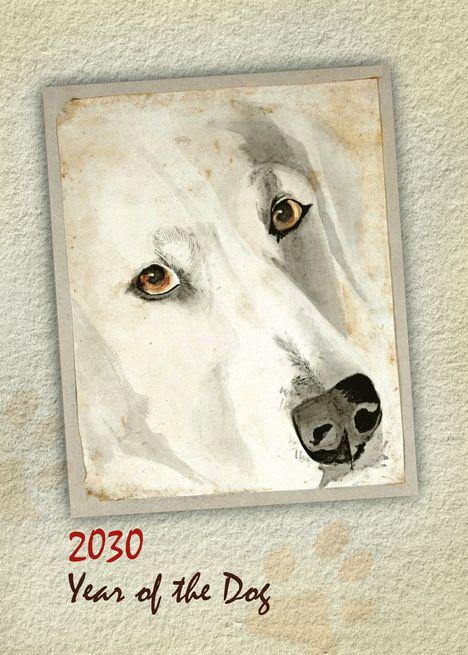 Happy Chinese New Year Of The Dog 2030 White Dog Golden Eyes Card Ad Affiliate Year Dog Happy Custom Holiday Card Dog Years Happy Chinese New Year