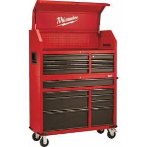 Milwaukee 46 In 16 Drawer Steel Tool Chest And Rolling Cabinet Set Textured Red And Black Matte 48 22 8510 8520 The Home Depot Tool Chest Mechanic Tool Box Milwaukee Tools
