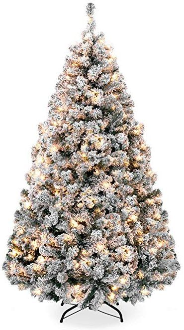 Best Choice Products 6ft Pre Lit Snow Flocked Artificial Christmas Pine Tree Flocked Christmas Trees Pine Christmas Tree Artificial Christmas Tree
