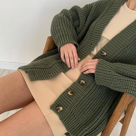 Cashmere Knitted Casual Oversized V-Neck Green Cardigan