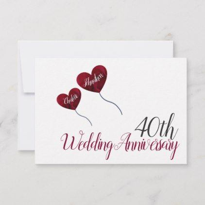 Heart Balloons Ideal 40th Ruby Wedding Decorations Clear Printed Anniversary