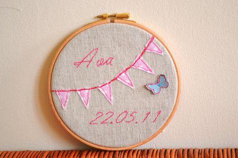 194573b3f Personalised Bunting Nursery Art Embroidery Hoop